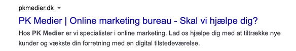 Eksempel på SEO: sidetitel og metatekst i en Google søgning.