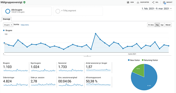Eksempel på Google Analytics med henblik på SEO