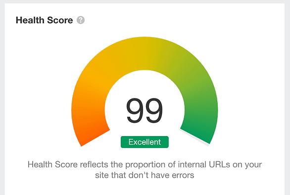 Eksempel på SEO ift. Health Score.