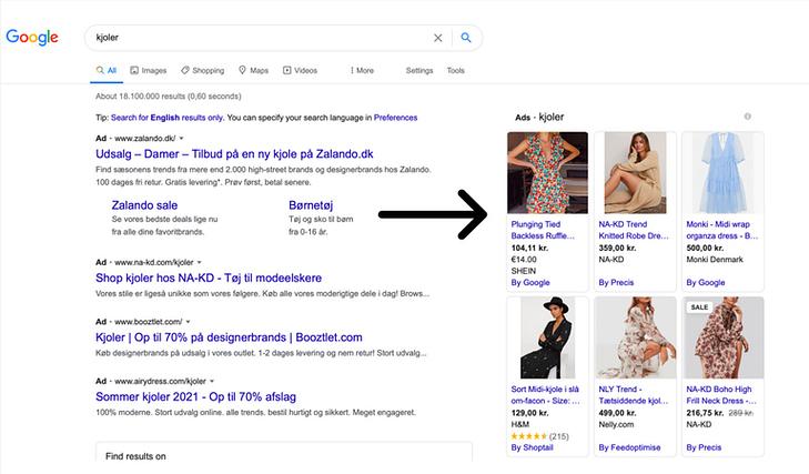Google shopping eksempel
